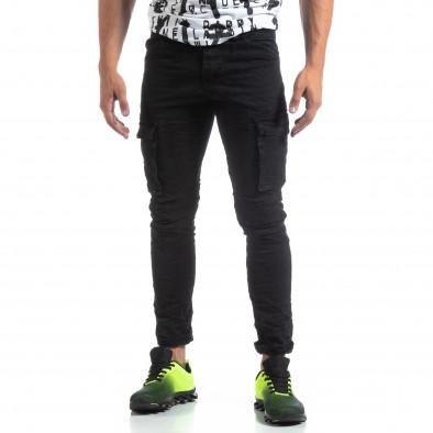 Черен мъжки карго панталон с прави крачоли it170819-15 3
