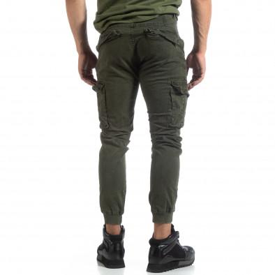 Мъжки зелен карго панталон с маншети трико it170819-12 4