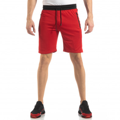 Червени мъжки шорти с ивици it210319-59 3