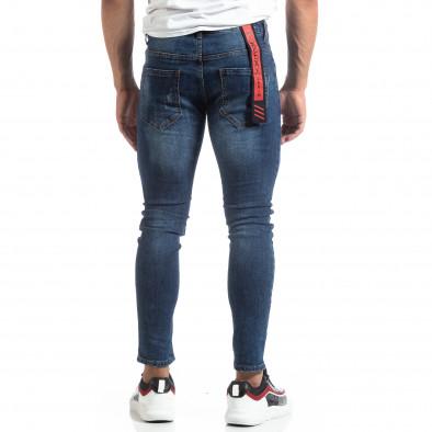 Сини мъжки прокъсани дънки с принт it170819-49 4