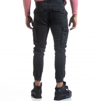 Мъжки черен карго панталон с маншети трико it170819-10 4