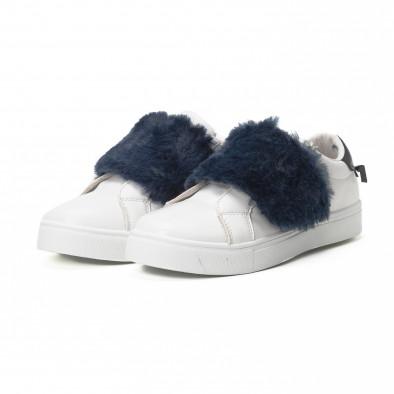 Дамски бели Slip-on маратонки със сини акценти it150818-55 3