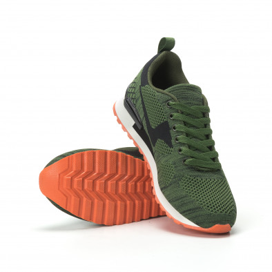 Плетени мъжки маратонки в зелено с ярък акцент it250119-6 4