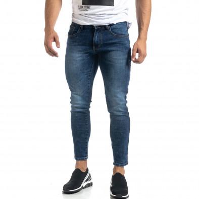 Cropped мъжки сини дънки с кантове Slim fit it041019-26 3