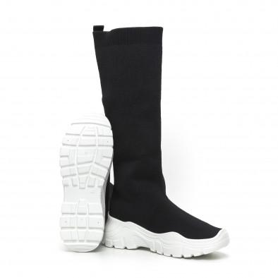 Дамски черни ботуши тип чорап бяла подметка it260919-66 4