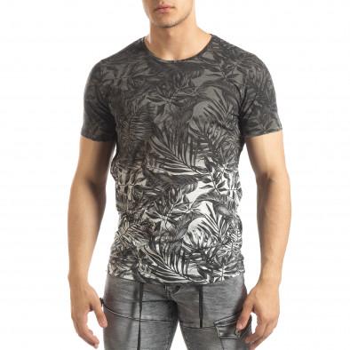 Мъжка сива тениска с преливане Leaves мотив it150419-108 2