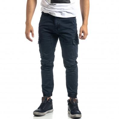 Син мъжки карго панталон с ципове it041019-43 3