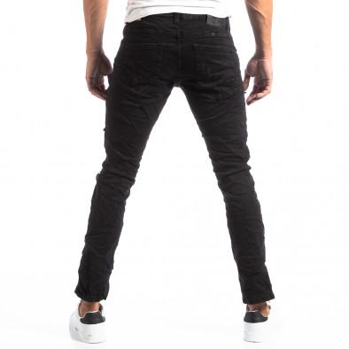 Черни мъжки скъсани дънки в рокерски стил it250918-20 4