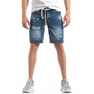 Мъжки сини къси дънки с прокъсвания it210319-30 3