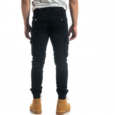 Мъжки рокерски карго панталон в черно it041019-40 4