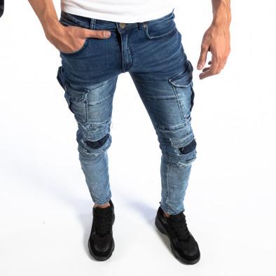 Мъжки сини Slim Cargo дънки с кръпки it250918-17 2