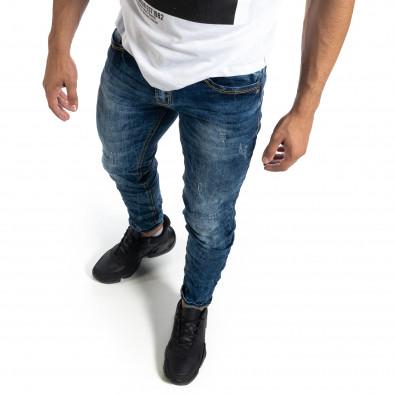 Washed мъжки сини дънки Slim fit it041019-31 4