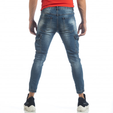 Мъжки сини карго дънки с ластик и връзки it040219-21 5