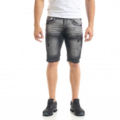 Slim fit мъжки къси дънки в черно it050620-7 2