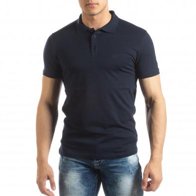 Фина мъжка тениска Polo shirt в тъмно синьо it150419-96 2