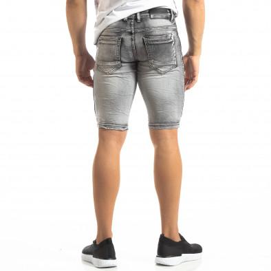 Мъжки намачкани къси дънки Slim-fit в сиво it150419-11 3