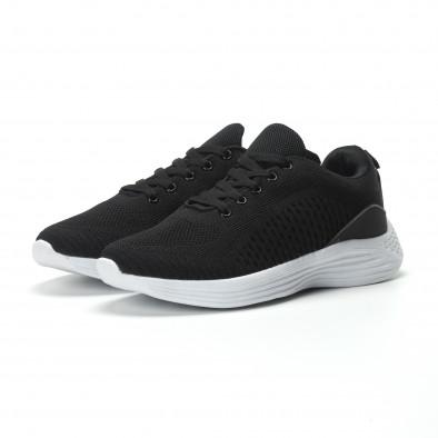 Ултралеки текстилни мъжки маратонки в черно it250119-19 3