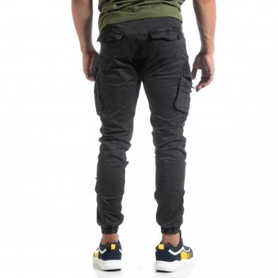 Черен мъжки панталон с ципове на джобовете it170819-2 4