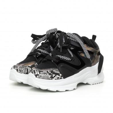 Chunky дамски черни маратонки с лачени части it130819-79 3