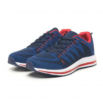 Плетени мъжки маратонки в синьо и червено it251019-6 4