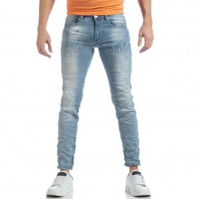 Slim fit мъжки прокъсани дънки светъл деним it040219-12 3
