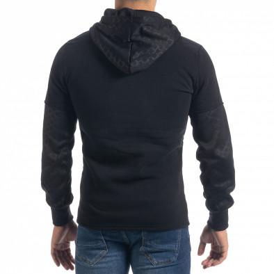 Мъжки черен суичър Slim fit с качулка it071119-67 3