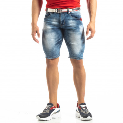 Мъжки намачкани къси дънки Slim-fit в синьо it150419-8 2