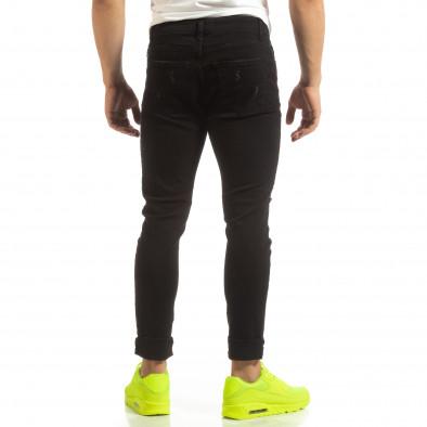 Скъсани мъжки черни дънки с цветен принт it090519-2 4