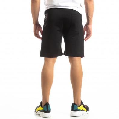 Черни мъжки шорти с бяло и червено it150419-32 3