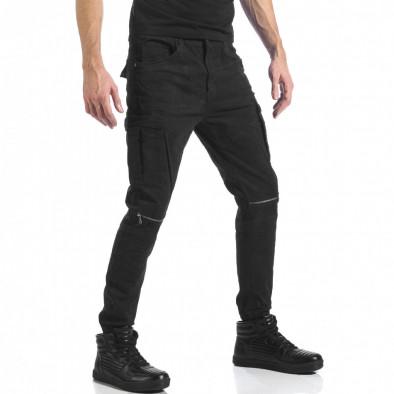 Мъжки черен карго панталон с ципове it041217-43 4