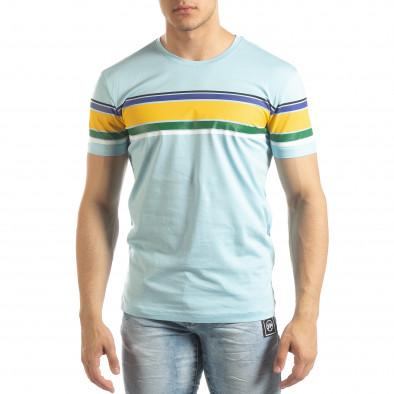 Мъжка синя тениска с цветни райета it150419-54 2