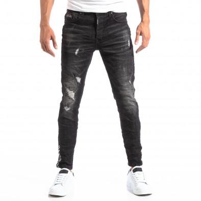 Черни мъжки дънки със състарен ефект it260918-3 3