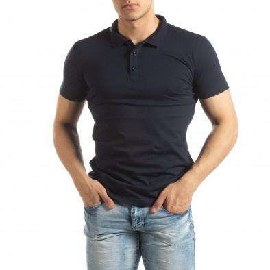 Мъжки Basic Polo shirt в тъмно синьо it150419-61 2