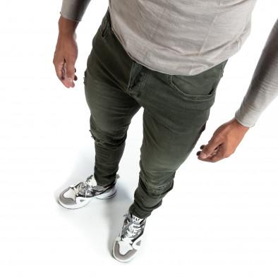 Slim fit мъжки зелени дънки с прокъсвания it170819-39 2
