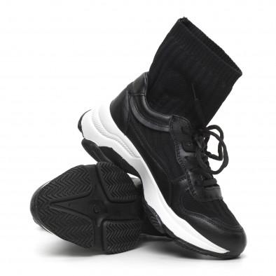 Черни дамски маратонки-чорап с дебела подметка it260919-49 4
