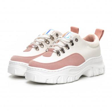 Ултрамодерни дамски маратонки в бяло и розово it240419-43 3