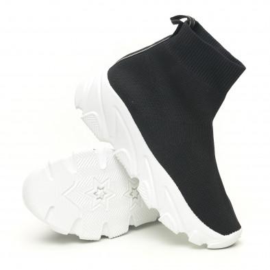 Дамски черни маратонки тип чорап с бяла подметка it281019-1 4