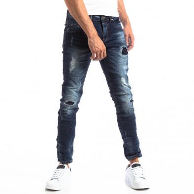 Мъжки намачкани Slim Jeans с акцентни кръпки it250918-16 3