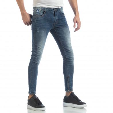 Мъжки намачкани Slim fit дънки с ципове it040219-9 3