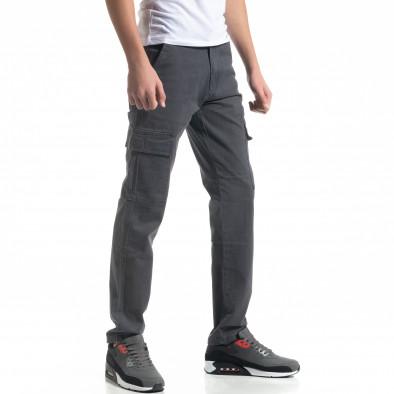 Мъжки карго панталон в сиво Regular fit it091219-9 3
