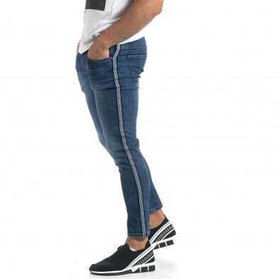 Cropped мъжки сини дънки с кантове Slim fit it041019-26 4