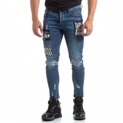 Сини мъжки прокъсани дънки с кръпки it170819-48 3