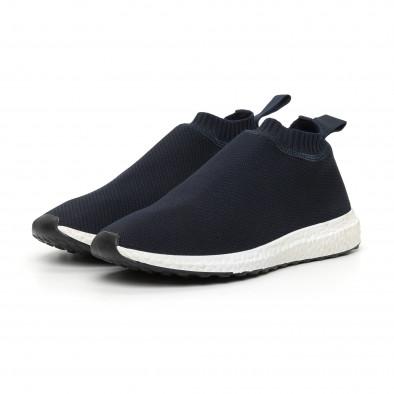 Мъжки slip-on маратонки тип чорап в синьо it130819-2 3