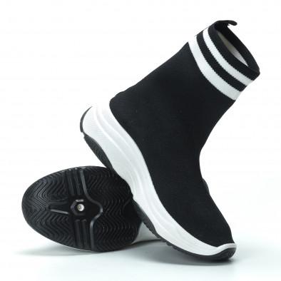 Черни дамски маратонки тип чорап с ленти it250119-61 5