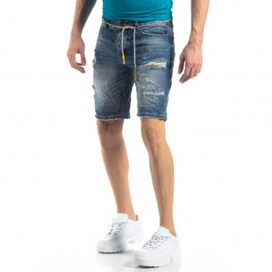 Мъжки сини къси дънки състарен ефект it210319-29 4