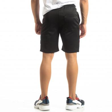 Мъжки черни шорти с ивици it150419-24 3