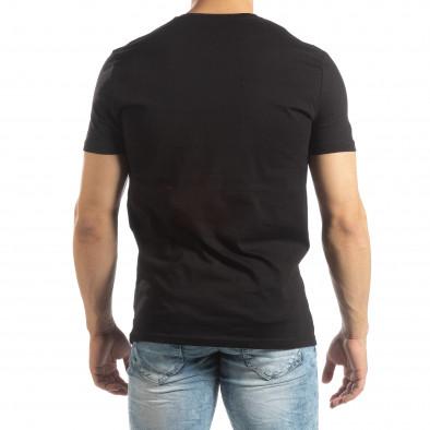 Черна мъжка тениска с гумени рамки it150419-69 3