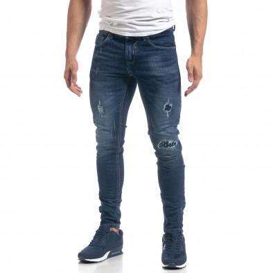 Мъжки сини дънки с ефектни кръпки Slim fit it071119-17 3
