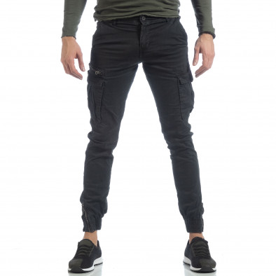 Черен карго панталон с ципове на крачолите it040219-34 3