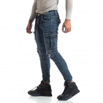 Мъжки сини Cargo Jeans рокерски стил it170819-54 2
